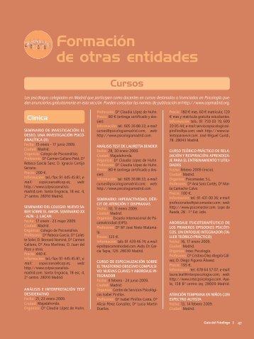 Formación de otras entidades - Colegio Oficial de Psicólogos de ...