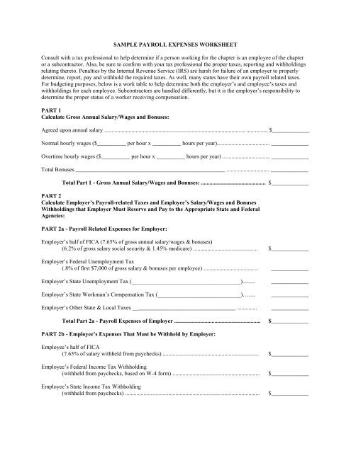 Sample Payroll Expenses Worksheet Consult With A Tax