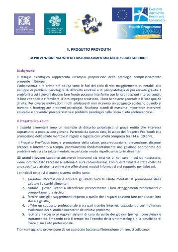 il progetto proyouth - Le Buone Pratiche di cura nei Disturbi del ...