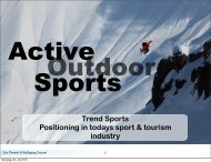 Trend Sports Positioning in todays sport & tourism industry
