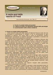 1 1. Freud e le origini della psicoanalisi 2. L'opera di Freud e la ...