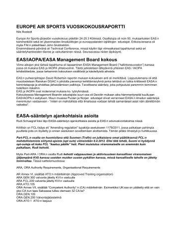 EUROPE AIR SPORTS KOKOUSRAPORTTI - Suomen Ilmailuliitto