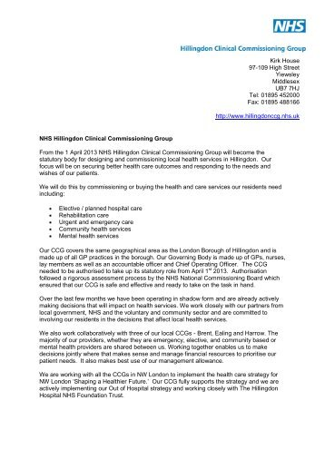 to read more and view introduction letter - Hillingdon Association of ...