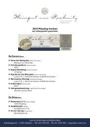 2010 Riesling trocken vom Vulkangestein - Weingut von Racknitz