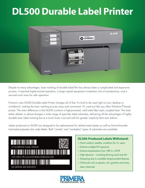DL500 Durable Label Printer