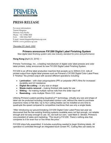 Primera Announces FX1200 Digital Label Finishing System