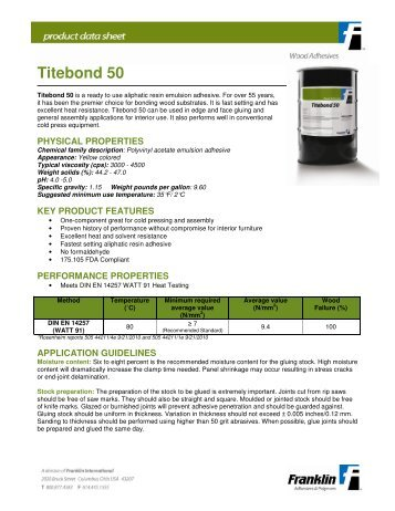 Titebond 50 - Franklin Adhesives and Polymers