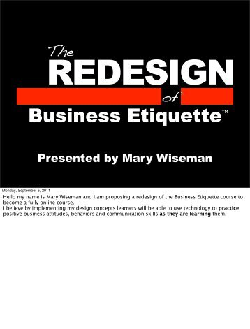Business Etiquette - Mary Wiseman Design