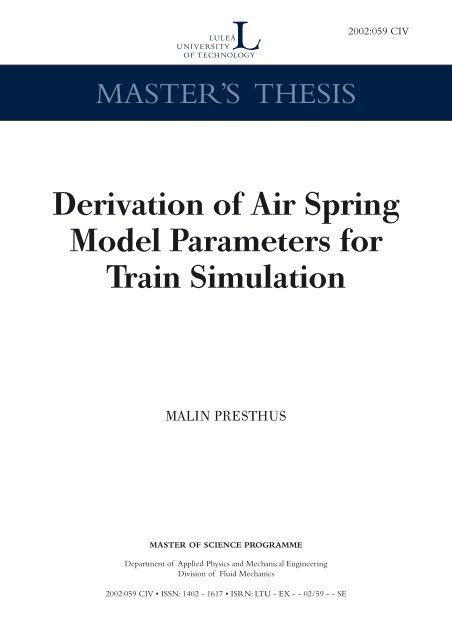 Derivation of air spring model parameters for train simulation