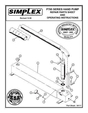 785 hand pumps - Simplex