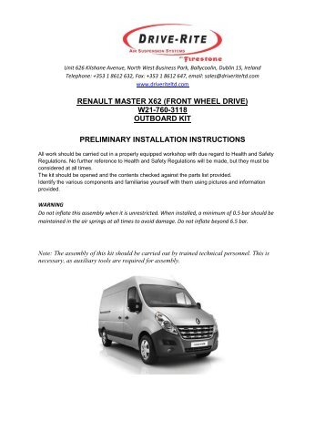 RENAULT MASTER X62 (FRONT WHEEL DRIVE) W21-760-3118 ...