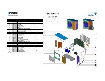Lista de Peças / Vistas Explodidas - Cassete YKDA - Johnson Controls