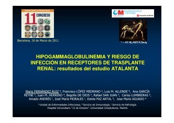 Hipogammaglobulinemia y riesgo de infección en receptores de ...