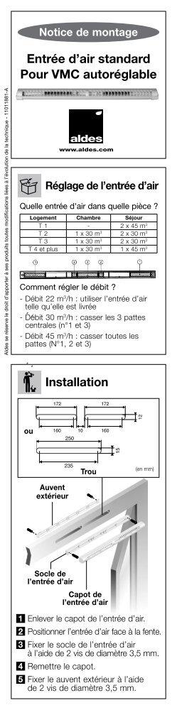 Entrée d'air standard Pour VMC autoréglable Installation - Aldes