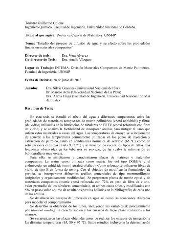 Guillermo Ghione Ingeniero Químico. Facultad de Ingeniería ...