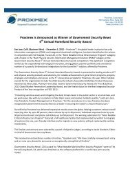 Proximex is Announced as Winner of Government Security News 4th ...