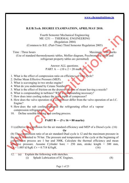 www chennaituitions in B E/B Tcch  DEGREE EXAMINATION, APRIL