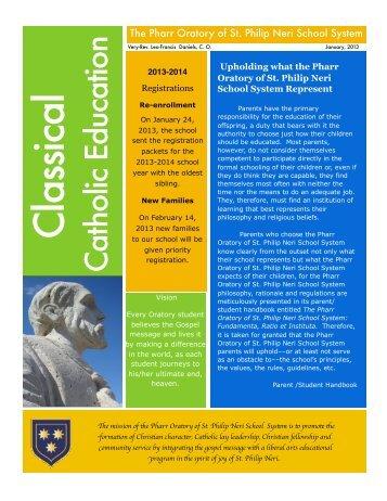 See PDF... - The Pharr Oratory of St. Philip Neri School System