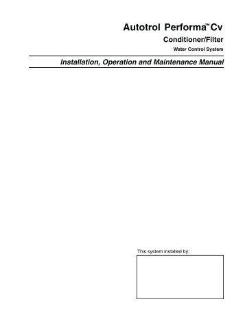 Performa Cv Owners Manual 1228354 - Pentair Residential Filtration