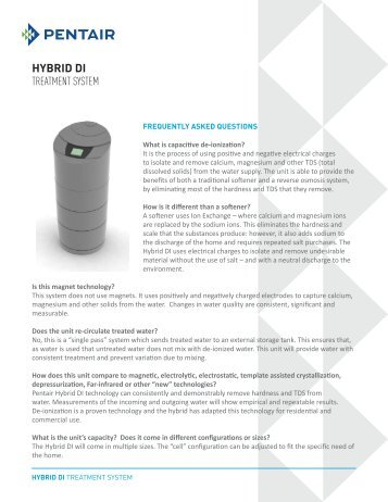 HYBRID DI TREATMENT SYSTEM - Pentair Residential Filtration