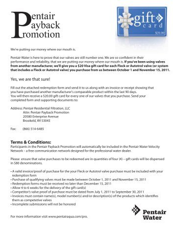 Pentair ayback romotion - Pentair Residential Filtration