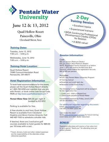 PWU InviteAgendaRegis Painesville OH - Pentair Residential Filtration