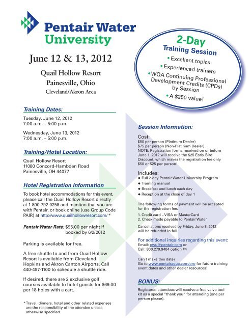 PWU InviteAgendaRegis Painesville OH - Pentair Residential