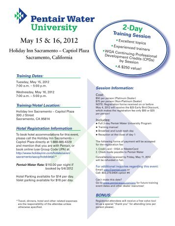 May 15 & 16, 2012 - Pentair Residential Filtration