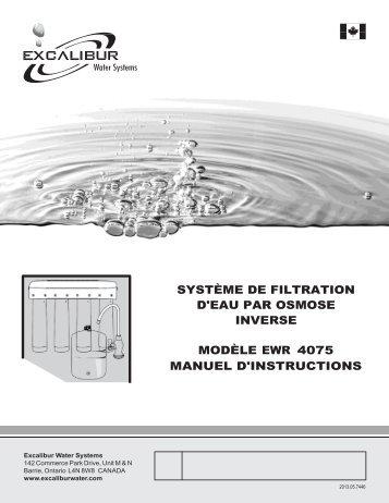 manuel d'instructions système de filtration d'eau par osmose inverse ...