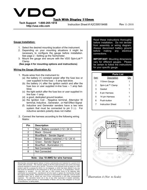 [SCHEMATICS_48DE]  VDO Tachometer With Display Instructions | Fast Tach Wiring |  | Yumpu
