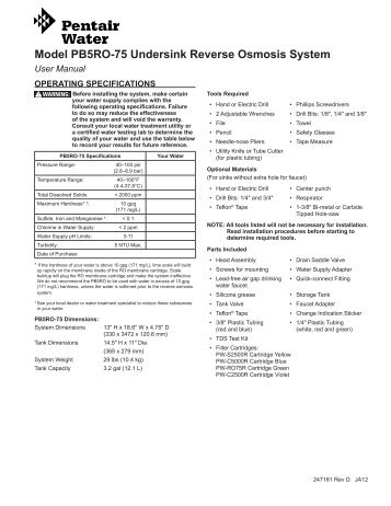 RO Quick Change Manual PB5RO-75 - Pentair Residential Filtration
