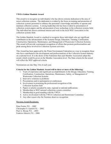 Golden Manhole Award - Virginia Water Environment Association