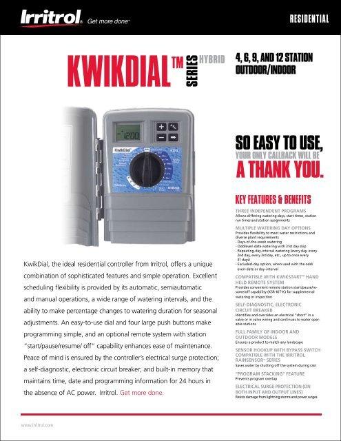 Irritrol KD9-EXT Kwik Dial 9 Station Outdoor Sprinkler Controller