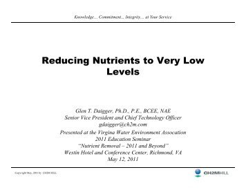 Reducing Nutrients to Very Low Levels - Virginia Water Environment ...