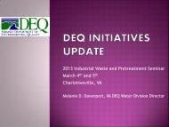 DEQ Initiatives Update - Virginia Water Environment Association