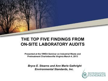 Top Five Findings During Environmental Laboratory Audits