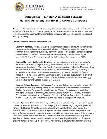 Articulation (Transfer) Agreement between Herzing University and ...