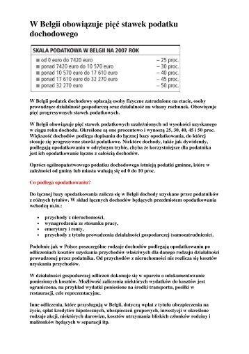 Belgia stawki podatku dochodowego