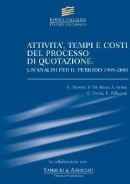 attivita', tempi e costi del processo di quotazione - Facoltà di Economia