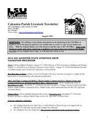 Calcasieu Parish Livestock Newsletter - The LSU AgCenter
