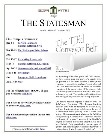 THE STATESMAN - George Wythe University Newsletter