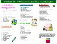 CUERO ISD 2011-12 *Recommended Elementary School Supply List