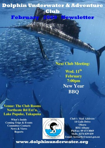 Dolphin Underwater & Adventure Club February 2009 Newsletter