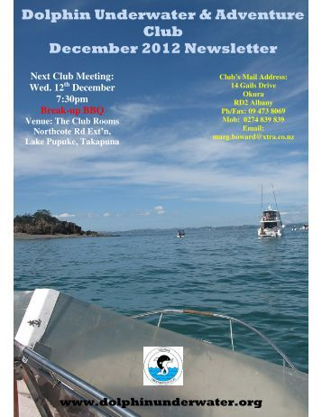Dolphin Underwater & Adventure Club December 2012 Newsletter