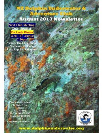 NZ Dolphin Underwater & Adventure Club August 2013 Newsletter