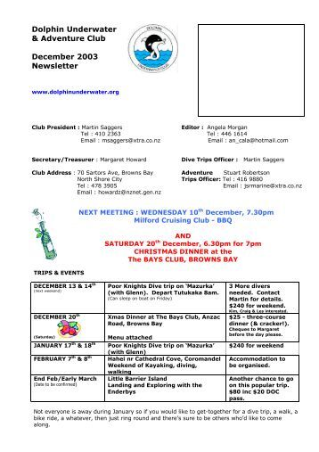 Dolphin Underwater & Adventure Club December 2003 Newsletter
