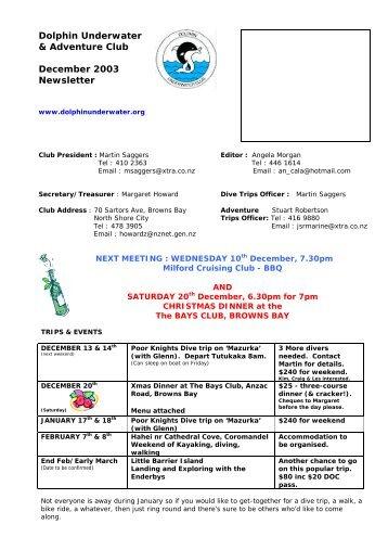 Dolphin Underwater & Adventure Club December 2003 Newsletter