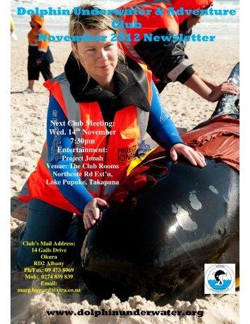 Dolphin Underwater & Adventure Club November 2012 Newsletter