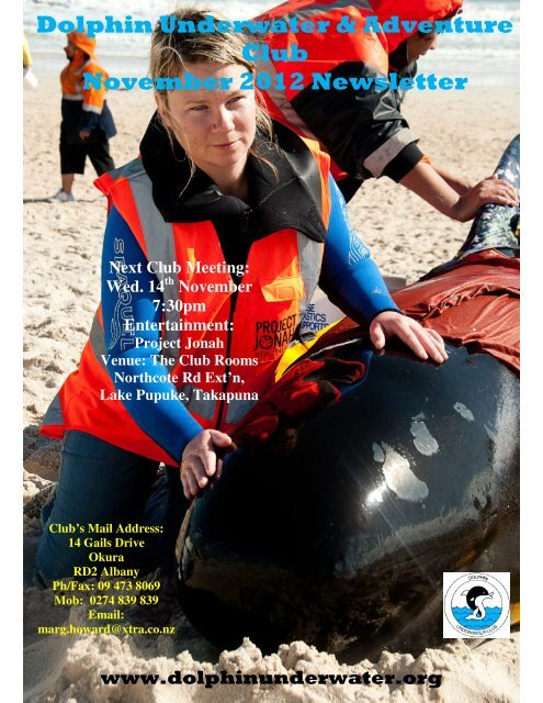 Dolphin Underwater & Adventure Club November 2012 Newsletter