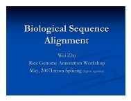 Biological Sequence Alignment - Rice Genome Annotation Project